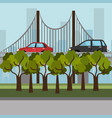 cityscape with bridge scene vector image