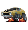 classic american seventies muscle car cartoon vector image vector image