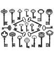 collection antique keys vector image vector image