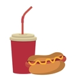 colorful cup and hot dog graphic vector image