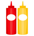 colorful ketchup mustard sauce bottle icon poster vector image