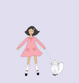 cute cartoon girl with a cat vector image vector image