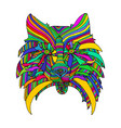 dog head bright psychedelic animal pattern vector image