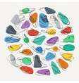 Elegant collage of mens shoes and boots on a vector image