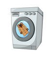 fur and cartoon washing machine design isolated vector image vector image