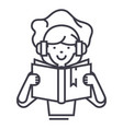 girl reading book in earphones line icon vector image