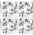 Group street musicians seamless monochrome pattern vector image vector image