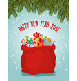 Happy new year Santa big bag full of presents vector image