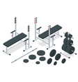 isometric barbell and sports equipment icons set vector image
