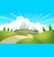 landscape city cloud sun vector image vector image