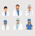 medical staff icon set vector image