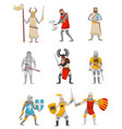 medieval armored knight set european warrior vector image