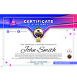official white certificate with blue triangles and vector image vector image