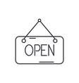 open inscription line icon concept open vector image vector image