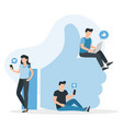 people in social media guys and women near big i vector image vector image