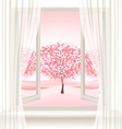 Pink cherry blossom tree view from a window vector image vector image