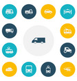 set of 13 editable transportation icons includes vector image