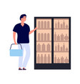 shopper and fridge man buying drinks flat style vector image vector image