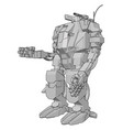 simple a grey robot standing arm out vector image vector image
