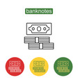 stack of cash line art perspective icon vector image vector image