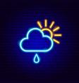 sun cloud rain neon sign vector image vector image