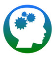 thinking head sign white icon in bluish vector image vector image