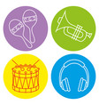 tropical instruments set icons vector image