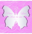 wedding invitation with silver waves and butterfly vector image vector image
