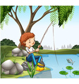 Young boy fishing in pond vector image