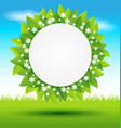 Leaves frame with white flowers on green vector image