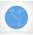 Dolphin blue round icon vector image