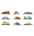 mountain icons set various types of pile hills vector image