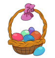 cartoon image of basket with easter eggs icon vector image