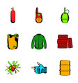 ammunition icons set cartoon style vector image vector image