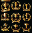 Award cups and trophy icons with laurel wreaths vector image