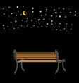 bench at night sky and stars romantic background vector image vector image