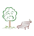 Bird park bench green tree vector image vector image