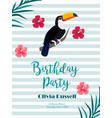Birthday tropical invitation card with toucan and vector image