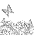 black and white card with roses and butterflies vector image