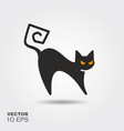 black cat flat silhouette icon with shadow vector image