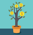 Business optimization Tree with money vector image