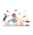 busy mother with baby multitask woman motherhood vector image