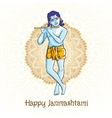 cartoon Krishna with a flute Greeting card for vector image