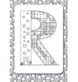cartoon letter r drawn in the shape of house vector image