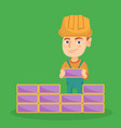 caucasian bricklayer boy building a brick wall vector image vector image