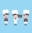 Chef boy hold signage