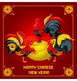 Chinese New Year rooster gold ingot poster design vector image
