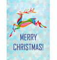 christmas card with colorful deer vector image