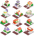 city buildings isometric set vector image vector image