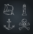 collection nautical icon sketches on chalkboard vector image vector image
